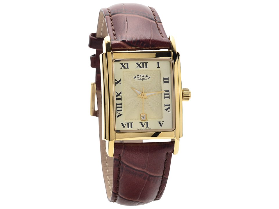 plated rg watch steel pandora double women goldsteel gold leather watches image brown oblong rose